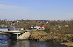 Bridge on Russian-Estonian state transport-walking border. Bridge over river Narva on Russian-Estonian state transport-walking border royalty free stock photos