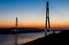 The bridge on the Russian island. Vladivostok Stock Photos
