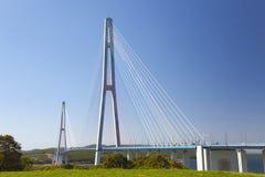 Bridge Russky through the Strait of Eastern Bosphorus. Vladivostok. Bridge Russky - connects Vladivostok with Russky island royalty free stock photos