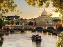 Bridge of Saint Angelo in Rome Stock Photography