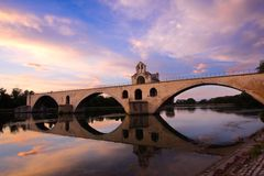 Bridge Saint-Benezet, Avignon, France. Bridge Saint-Benezet at sunset time in Avignon, France Stock Photography