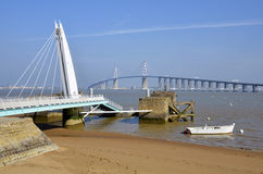 Bridge of Saint Nazaire in France Stock Image
