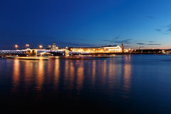 Bridge in Saint Petersburg, Russia at night. Illumination and lights, dark blue sky.  Stock Photo
