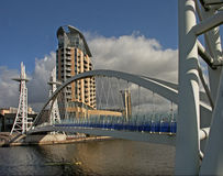 Bridge at Salford. The pedestrian bridge at Salford Quays, Manchester, England Stock Image