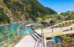 Bridge at Saltos del Petrohue Waterfalls - Los Lagos Region, Chile. Bridge at Saltos del Petrohue Waterfalls in Los Lagos Region, Chile royalty free stock images