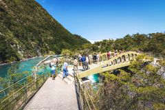 Bridge at Saltos del Petrohue Waterfalls - Los Lagos Region, Chile. Puerto Varas, Chile - Feb 23, 2018: Bridge at Saltos del Petrohue Waterfalls - Los Lagos royalty free stock photos