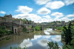 Bridge of San Martin de Toledo Spain stock photo