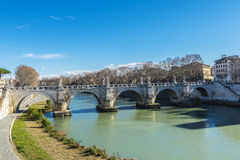 Bridge of Sant Angelo over the Tiber River in Rome, Italy Stock Photos