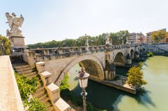 Bridge Sant Angelo, Rome, Italy. Bridge Sant Angelo and river Tiber in Rome. Italy Stock Photography
