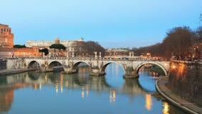 Bridge Sant'Angelo, Rome, Italy. Time Lapse stock footage