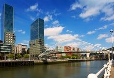 Bridge by Santiago Calatrava and skyscrapers. Bilbao Royalty Free Stock Photography