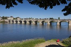 Bridge of Saumur, Pays de la Loire Stock Images