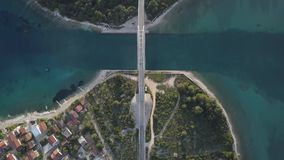 Bridge and sea around islands. stock video footage