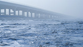 Bridge on Sea ice Stock Photography