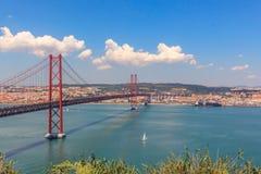Bridge the sea in Lisbon, capital of Portugal. Favourite that RED BRIDGE the sea in Lisbon stock image