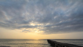 Bridge and Sea. Bridge Sea Sky and Sunrise in Southern thailand Royalty Free Stock Images