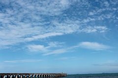 Bridge on the sea and sky Stock Photos