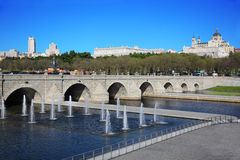 Bridge of Segovia, fountains, Royal Palace and Cathedral Stock Photos