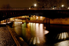 Bridge and Seine river at night, Paris Royalty Free Stock Photo