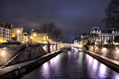 Bridge on seine river at night Stock Photo