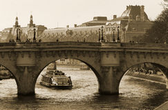 Bridge of the Seine to the Isle de la Cite Royalty Free Stock Image