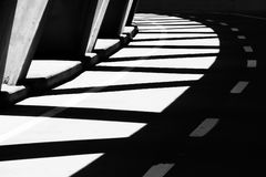 Bridge with shadows black and white Royalty Free Stock Images