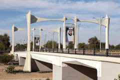 Bridge with sheikh portraits in Al Ain, UAE Stock Images
