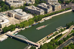 Bridge and ship on Seine, Paris Stock Photos