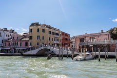 Bridge on the shore called & x22;Fondamenta de la Croce& x22; seen from the Grand Canal Royalty Free Stock Photography