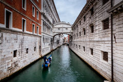 Bridge of Sigh, Venice, Italy. Gondola passing under the bridge of Sighs in Venice, Italy Royalty Free Stock Images