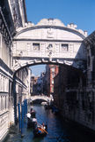 The Bridge of Sighs. View of the bridge of sights and some gondolas in the canal Royalty Free Stock Images