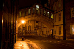 Bridge of Sighs. At night, Oxford, England royalty free stock photography