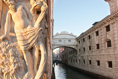 Bridge of Sighs. And artistic sculpture in Venice, Italy Stock Photos
