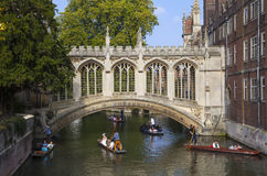 Bridge of Sighs in Cambridge. CAMBRIDGE, UK - OCTOBER 4TH 2015: A view of the beautiful Bridge of Sighs in Cambridge, on 4th October 2015 Royalty Free Stock Images