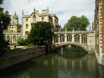 The Bridge of Sighs, Cambridge. A view of the Bridge of Sighs, St Johns College, Cambridge over the river Cam stock photos