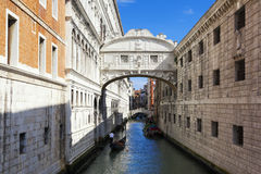 Bridge of Sighs and gondola Royalty Free Stock Images