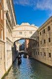 Bridge of sighs with gondolas under the bridge in Venice Stock Image
