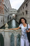 Bridge of Sighs with Model Royalty Free Stock Photography