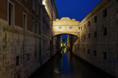 The bridge of Sighs at night Stock Photo