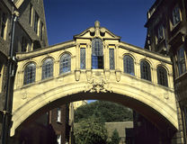 Bridge of Sighs, Oxford. Hertford Bridge designed by Sir Thomas Jackson and completed in 1914is often called The Bridge of Sighs after the famous bridge in Royalty Free Stock Photography