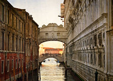 Bridge of Sighs - Ponte dei Sospiri. Venice, Italy, Europe.Photo in old color image style. Royalty Free Stock Photo