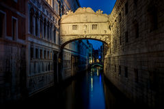 Bridge of Sighs (Ponte dei Sospiri) at night. Venice landmark. Stock Photography