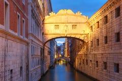 Bridge of Sighs or Ponte dei Sospiri in Venice. Bridge of Sighs or Ponte dei Sospiri at night, Venice, Italy Stock Image
