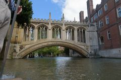 Bridge of Sighs at St John`s College in Cambridge royalty free stock image