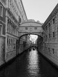 Bridge of Sighs in Venice in black and white Stock Images