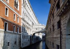 Bridge of Sighs, Venice. The Bridge of Sighs that connects the Doge's Palace with dungeons, in Venice Italy Royalty Free Stock Images