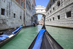 Palace canal and Bridge of Sighs, Venice - Italy Royalty Free Stock Images