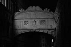 Bridge of Sighs in Venice, Italy, used to transfer prisoners from the Doges Palace to the prison dungeons Royalty Free Stock Image
