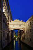 Bridge of Sighs in Venice at night Stock Photo