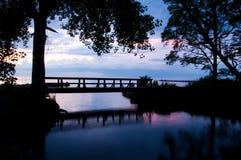 Bridge silhouette at sunset Stock Photo